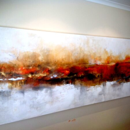 """lakeoffire - 3m x 1m - a piece from my """"signature range"""" which I painted in rich golds ,oranges, ochres and reds."""