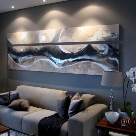 """""""lunarbutterfly"""" - 2.8m x 1m - acrylic and enamel on canvas. The interior designer I worked with on this project chose to split the canvasses horizontally which ultimately worked really well in this stunning living room."""