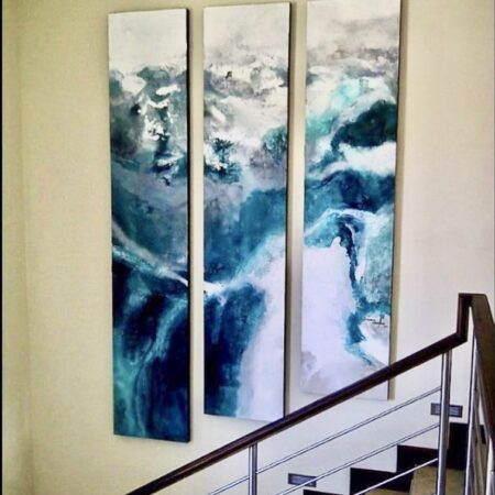 deluge -oil and water on canvas. An over-sized triptych commissioned by a returning client for their new home. They love the ocean.
