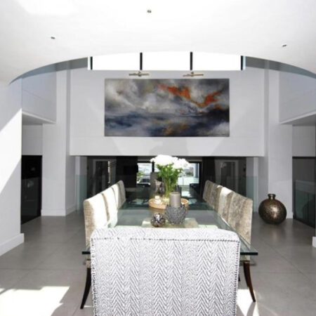 west coast evening - 3m x 1m - an absolutely sensational home on every level, with far-reaching views of the rugged coastline, I loved working on this scale. The objective here was to bring a little of the outdoors in. The wind, the spray, the vast expanse. It worked out well in the end.