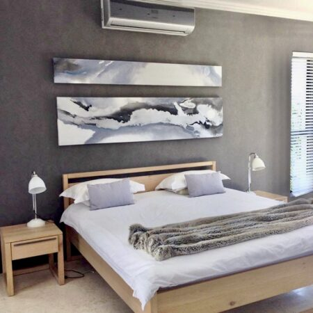 butterfly wings 2.8m x 700. A soft, subtle piece of art to work with the tranquility of this bedroom space.