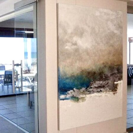 """""""blouberg"""" - 1.5m x 800. An exquisite home, on the ocean, literally. this piece, part of my """"signature range"""", hangs in the entrance hall."""