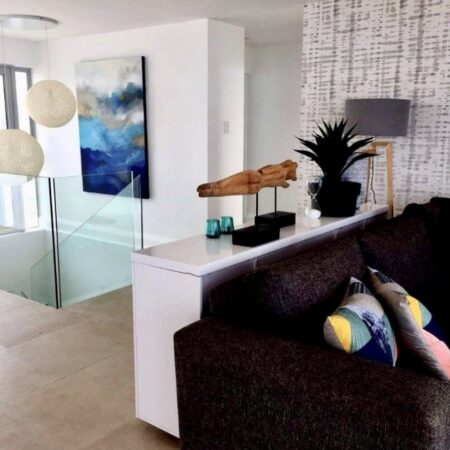 """""""bigblue"""" - 1..4m x 1m - I was asked by a quirky interior designer to produce a canvas with characteristics and undertones of the ocean for this stunning beach apartment project."""