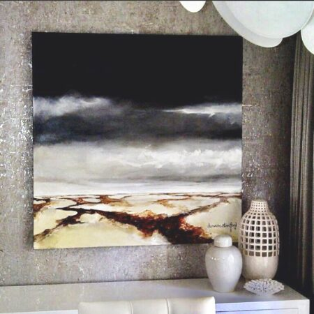 """""""the beach"""" 1200mm x 1200mm - Acrylic and oil on canvas. A piece commissioned by a prestigious interior designer for a beautiful beach side home. I love the ocean so these paintings are always special to do."""