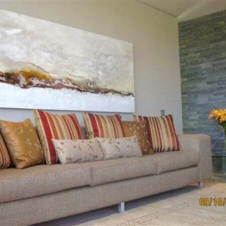 """""""goldleaf landscape"""" - 2m x 700 - mixed media on canvas, part of my """"signature range"""", the colours we used in the artwork complimented to accessories in this fantastic residence."""