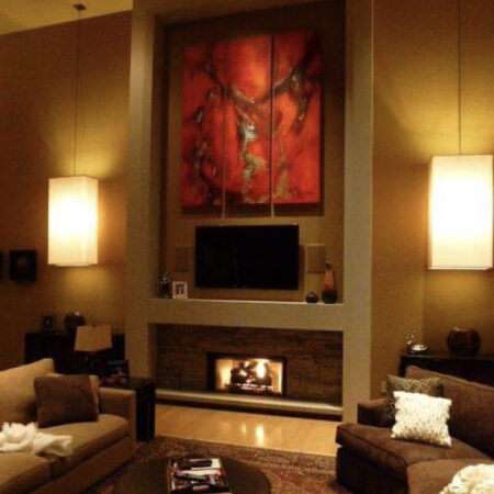 """""""koi"""" triptych, Ohio, USA. This client has a particular love for reds and used my artwork to add some warmth into this luxurious space."""