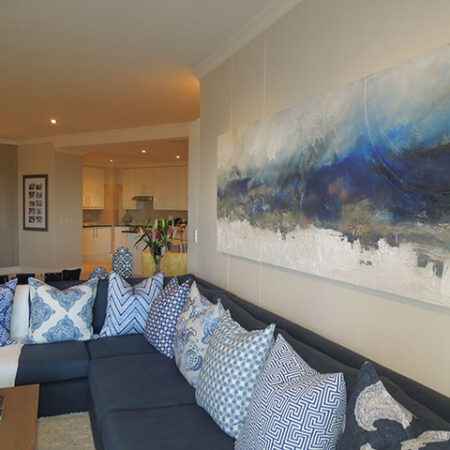 """mouillepoint - 3m x 700 - A prolific interior designer asked me to create a large seascape for a spectacular apartment across the road from the beach. I used inspiration from my """"signature range"""" and used deep blues and slivers and whites to echo the scene outside."""