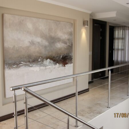 """""""tundra"""" - 1.6m x 1.4m - mixed media on canvas - this was a sensational home and client wanted to bring in subtle colours in the form of ochres, golds and silvers to add personality to this large space. She drew her inspiration from one of my signature range pieces."""