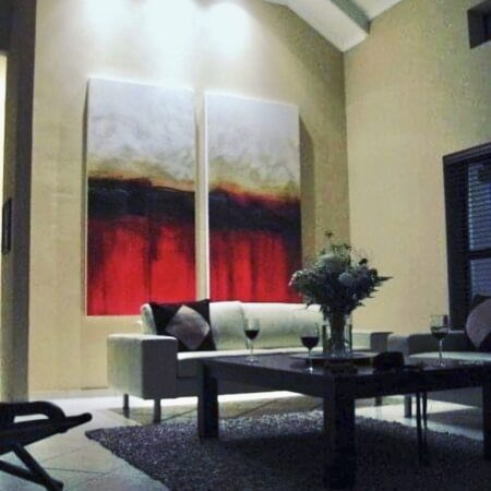 """""""view from atlantic beach"""" - 2 x oversized canvasses. One of my clients was looking for a statement piece of original art, something hot that would bring the room alive.  These huge canvasses were a challenge to work on, but equally fulfilling to see hanging on the wall with the lighting."""